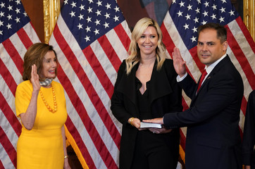 Speaker of the House Nancy Pelosi holds a ceremonial swearing-in in Washington