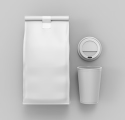 Blank Craft Brown Paper Bag Packaging For coffee beans with paper cup, dry fruits and other food items. 3d render illustration.