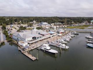 Low aerial view of marina at Murrels Inlet, South Carolina.