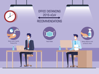campaign of social distancing at office for covid 19 with business men vector illustration design