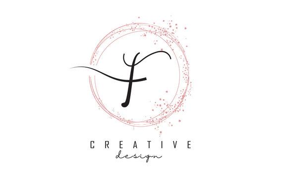 Sparkling circles and dust pink glitter frame for handwritten F letter logo.