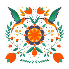 folk art scandinavian colourful pattern with floral and birds vector illustration