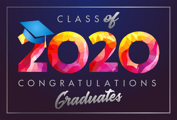 Class of 2020 year graduation banner, awards concept. Stained 3D sign, happy holiday invitation card. Isolated abstract graphic design template. Calligraphic text in brushing style, dark background.