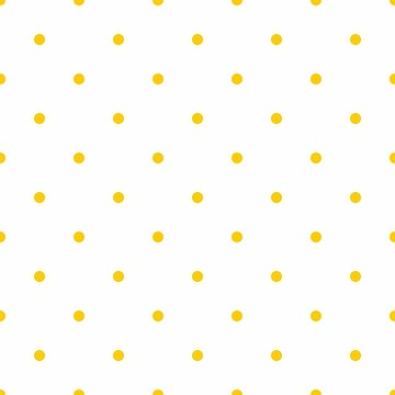 Seamless vector spring or summer pattern with sunny yellow polka dots on white background