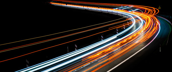 Printed kitchen splashbacks Beige lights of cars with night