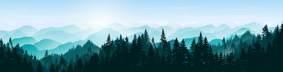 Foto auf AluDibond Pool Mountain landscape. Mountains and coniferous forest. Tourism and travelling. Natural banner. Background with trees. Vector silhouette