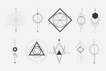 set of a minimalist geometric design elements tattoo. - hipster concept.