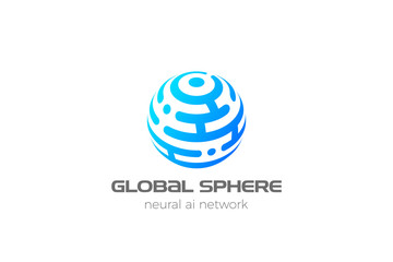 Wall Mural - Sphere Logo Circle abstract design HiTech communication vector template. Neural network Artificial intelligence AI internet web Logotype concept icon.