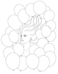 Young woman portrait blown away with many balloons coloring page stress free for adults and kids