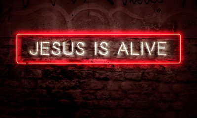 Jesus Is Alive Neon Sign Lit Up Creative Christian Concept