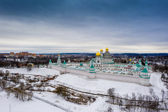 Aerial view to New Jerusalem Monastery in Istra, Moscow Region