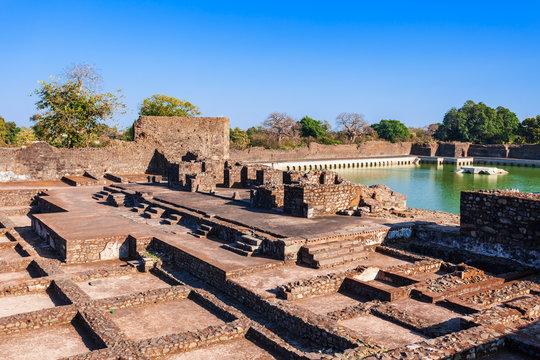 Royal pavilion ruins in Mandu, India