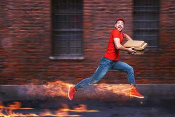 Courier runs fast to deliver quickly pizzas with fiery feet. Cyan background