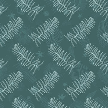 Vector dark green mint ostrich ferns seamless pattern with ferns watermark faded background. Suitable for fabric, wallpaper and gift wrap.
