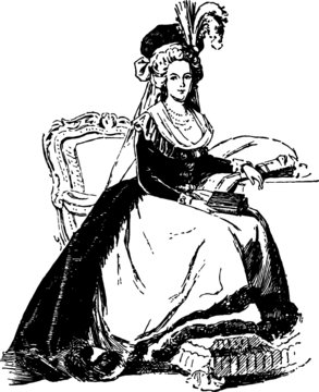Hand Drawn illustration of a Marie Antoinette