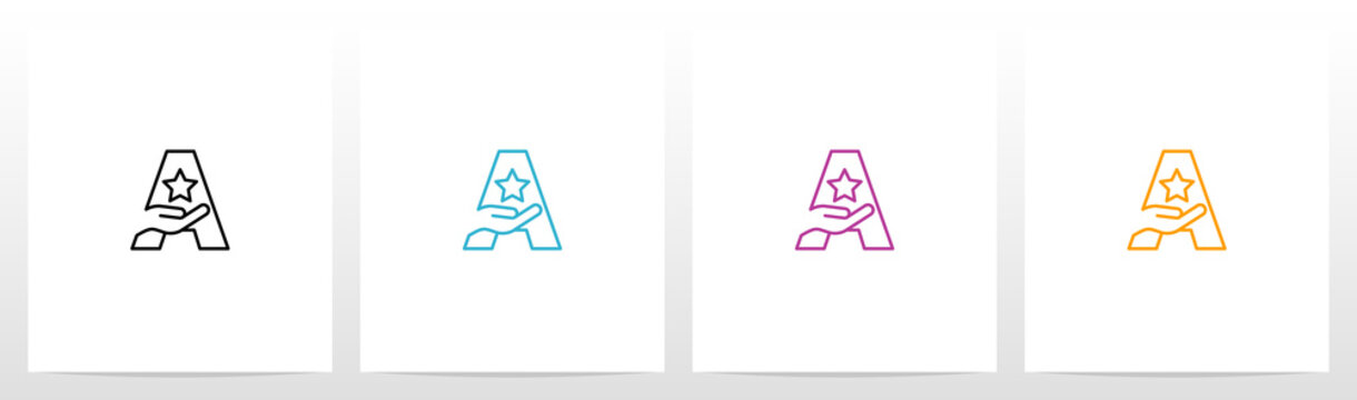 Hand Holding Star On Letter Logo Design A