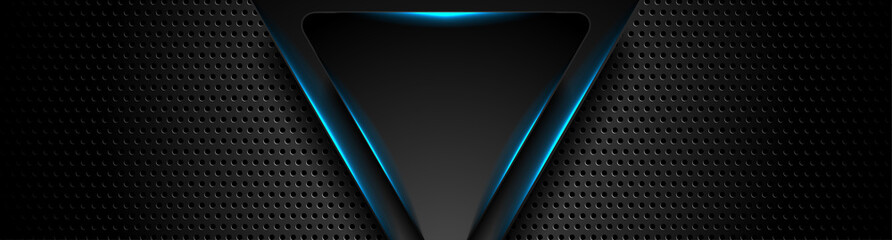 Fotobehang - Futuristic perforated technology abstract background with blue neon glowing triangles. Vector banner design