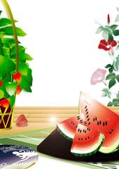 スイカと鬼灯にうちわや朝顔のイラスト日本の夏の風景縦スタイル背景素材