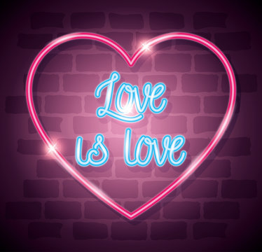 pride day neon light with label love is love design