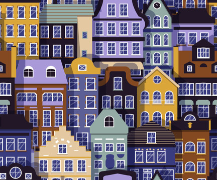 Building street seamless pattern. Layered european house with shadow background. Color flat cartoon architecture sign. Repeat ornament for paper wrap, fabric print, wallpaper decor Vector illustration