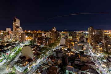 High Angle View Of Illuminated Buenos Aires Against Sky