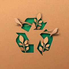 Green recycle icon eco papercut nature concept