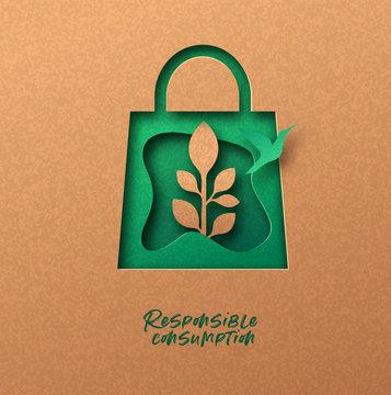 Responsible consumption green 3d papercut concept