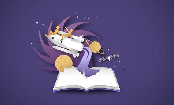 Open book of 3d papercut space ship rocket