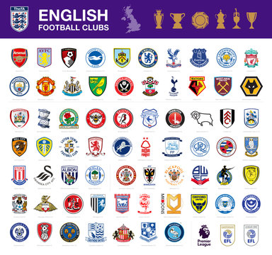 Vector set of 67 English football club's logos including Premier League, Championship and League One