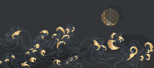 vector illustration of an abstract background Japanese  golden wave in dark night with half moon