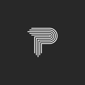 Letter P logo monogram, smooth thin lines, curved linear shape typography design element