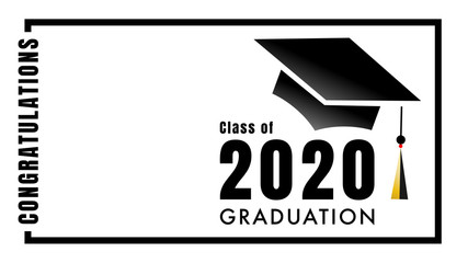 Congratulations Class of 2020 Graduation logo simple. Template for graduation with copy space.isolated on white background ,Vector illustration EPS 10