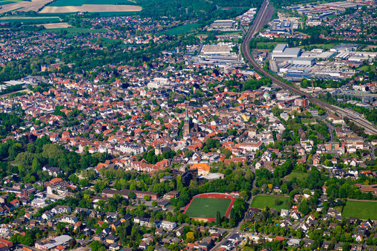 Aerial photo of the city Ahlen Westfalen NRW in Germany