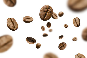 Tuinposter koffiebar Brown roasted coffee beans falling and flying on black background.Represent breakfast for energy and freshness concept.