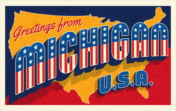 Greetings from Michigan USA. Retro postcard with patriotic stars and stripes lettering and United States map in the background. Vector illustration.