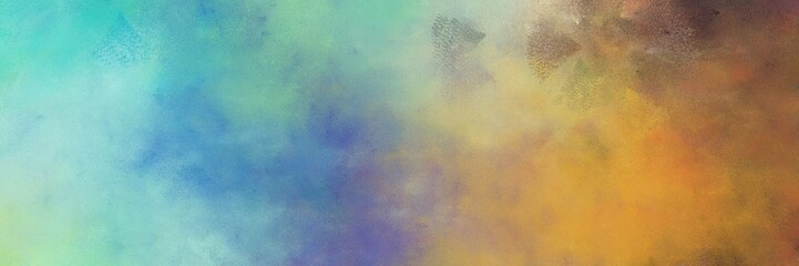 beautiful abstract painting background texture with dark sea green, medium aqua marine and sienna colors and space for text or image. can be used as horizontal background texture Wall mural