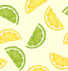 Pattern with citrus. Watercolor lemon and lime slices. Suitable for curtains, wallpaper, fabrics, wrapping paper.