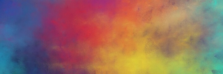 beautiful indian red, peru and teal blue colored vintage abstract painted background with space for text or image. can be used as header or banner Wall mural