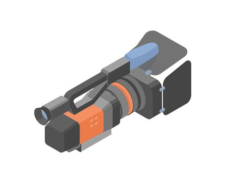 Cartoon videography equipment for shooting video or film production isometric vector illustration