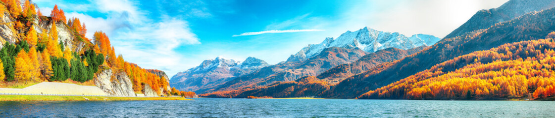 Astonishing autumn scene in Swiss Alps and views of Sils Lake (Silsersee).