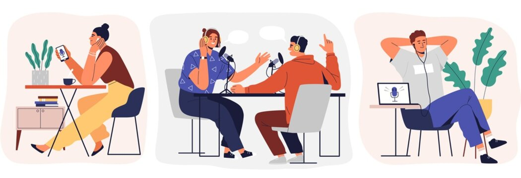 Set of cartoon smiling people listening and recording audio podcast or online show vector flat illustration. Joyful person radio host interviewing guest, mass media broadcasting isolated on white