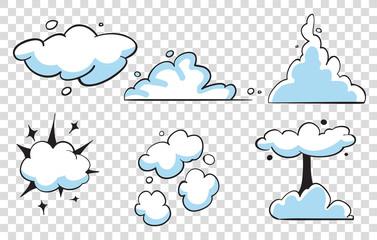 Set of pop art comic speeches vector cloud. Pop-art bubble bundle.