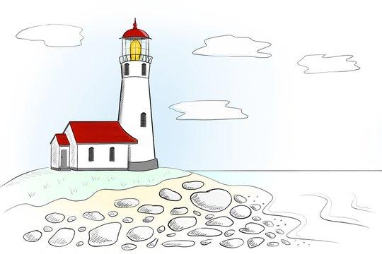Landscape with a lighthouse sketch