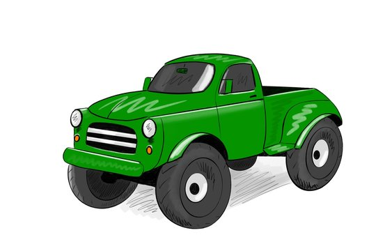 Green pickup cartoon car isolated on white