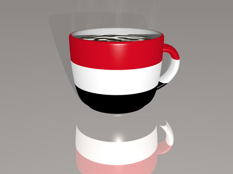 YEMEN placed on a cup of hot coffee mirrored on the floor in a 3D illustration with realistic perspective and shadows