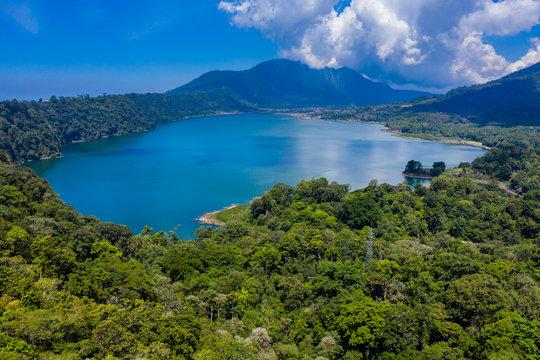 Aerial view of a beautiful lake inside an old volcanic caldera (Lake Buyan, Twin Lakes, Bali, Indonesia)