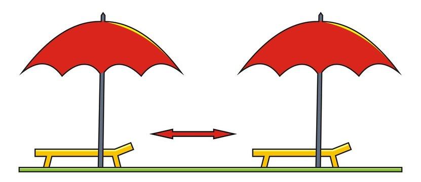 Safe distance of beach umbrella, color vector icon