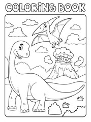 Photo sur Aluminium Enfants Coloring book dinosaur subject image 8