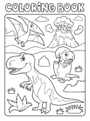 Photo sur Aluminium Enfants Coloring book dinosaur subject image 9