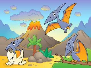 Zelfklevend Fotobehang Voor kinderen Pterodactyls near volcano image 1